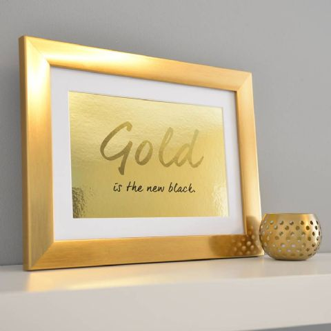 Gold Is The New Black Framed Metallic Print